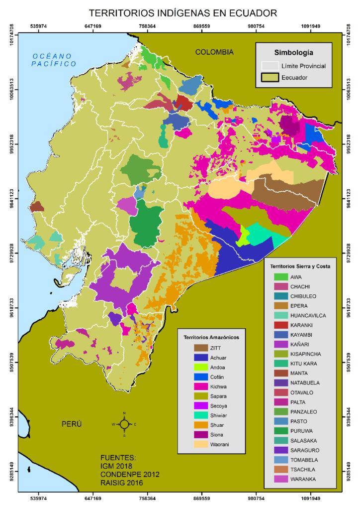 Territorios indígenas en Ecuador, trabajo del colectivo Geografía Crítica. Fuentes: IGM 2018, Condenpe 2012, Raisig 2016