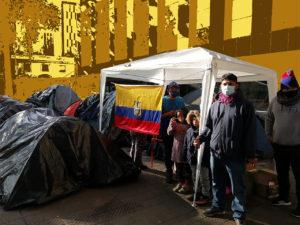 Campamento migrante ecuatoriano en Santiago de Chile. ¡Alerta!
